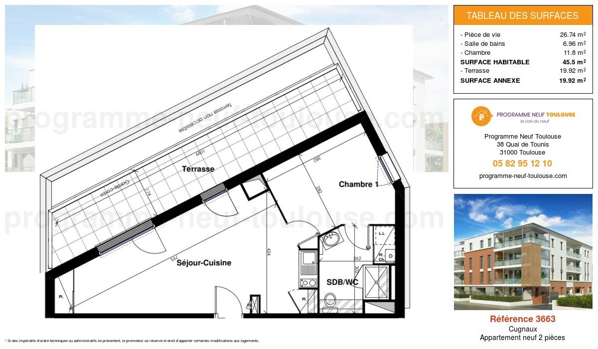 Plan pour un Appartement neuf de  45.5m² à Cugnaux