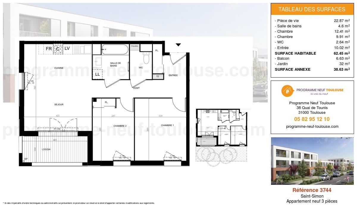 Plan pour un Appartement neuf de  62.45m² à Saint-Simon