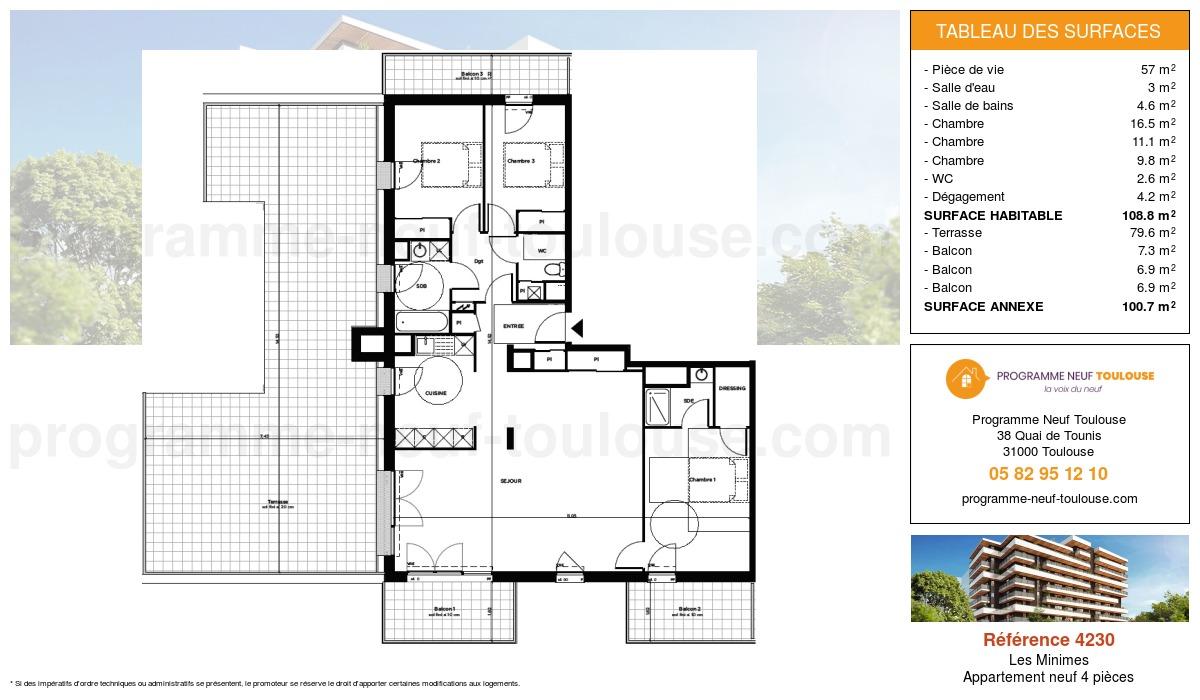 Plan pour un Appartement neuf de  108.8m² à Les Minimes
