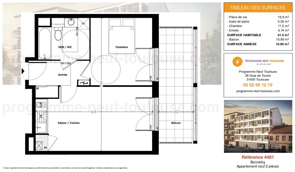 Plan pour un Appartement neuf de  41.4m² à Bonnefoy