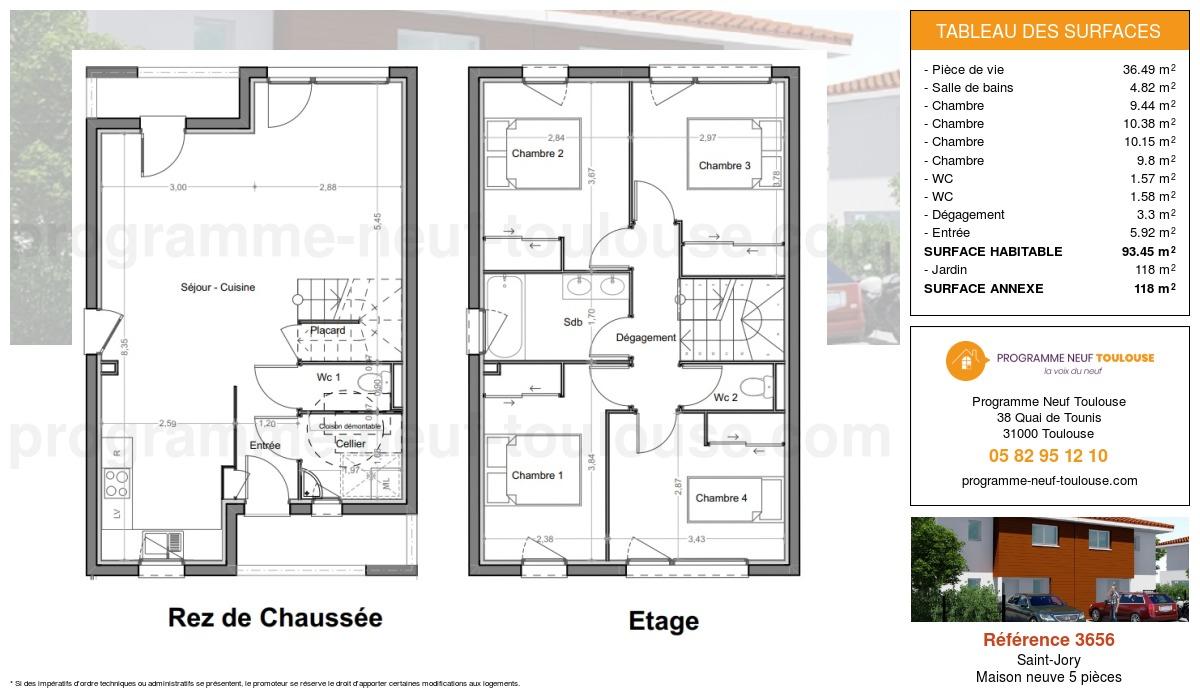 Plan pour un Maison neuve de  93.45m² à Saint-Jory