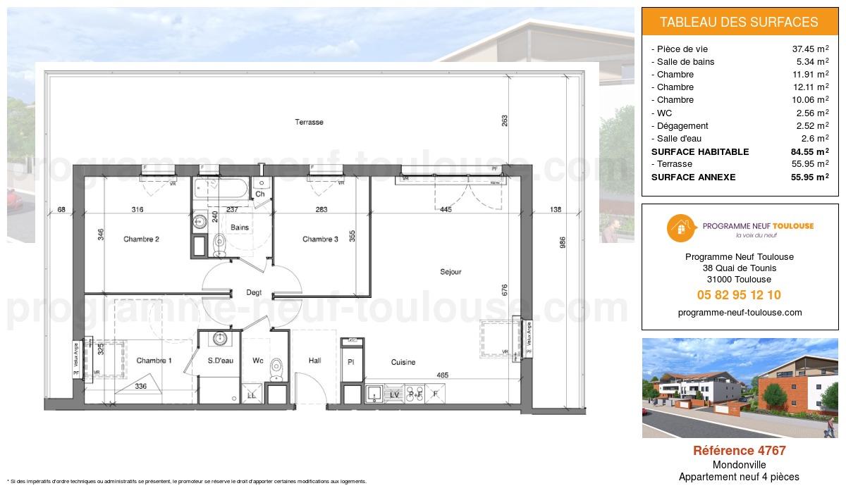 Plan pour un Appartement neuf de  84.55m² à Mondonville