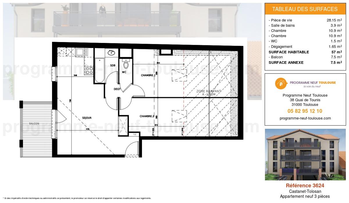 Plan pour un Appartement neuf de  56.3m² à Castanet-Tolosan