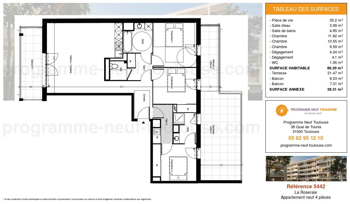 Plan pour un Appartement neuf de  86.29m² à La Roseraie