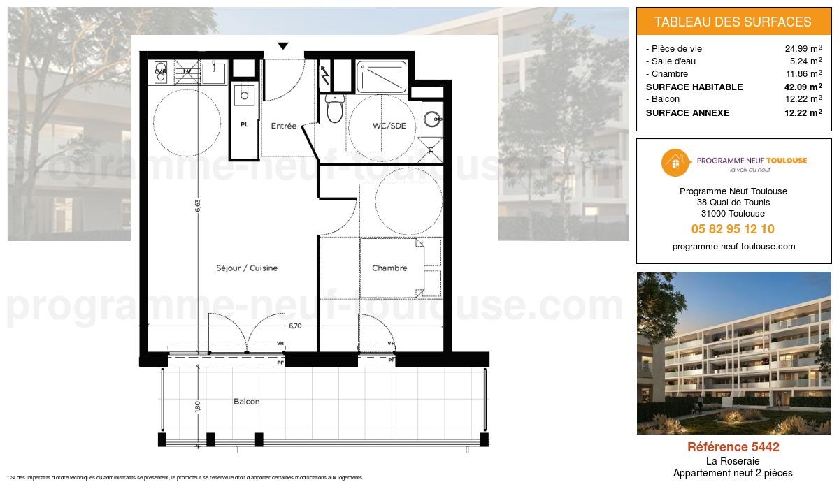 Plan pour un Appartement neuf de  42.09m² à La Roseraie