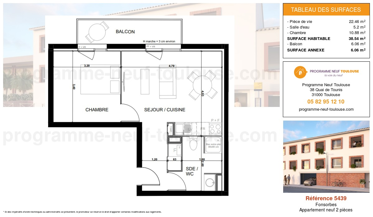 Plan pour un Appartement neuf de  38.54m² à Fonsorbes