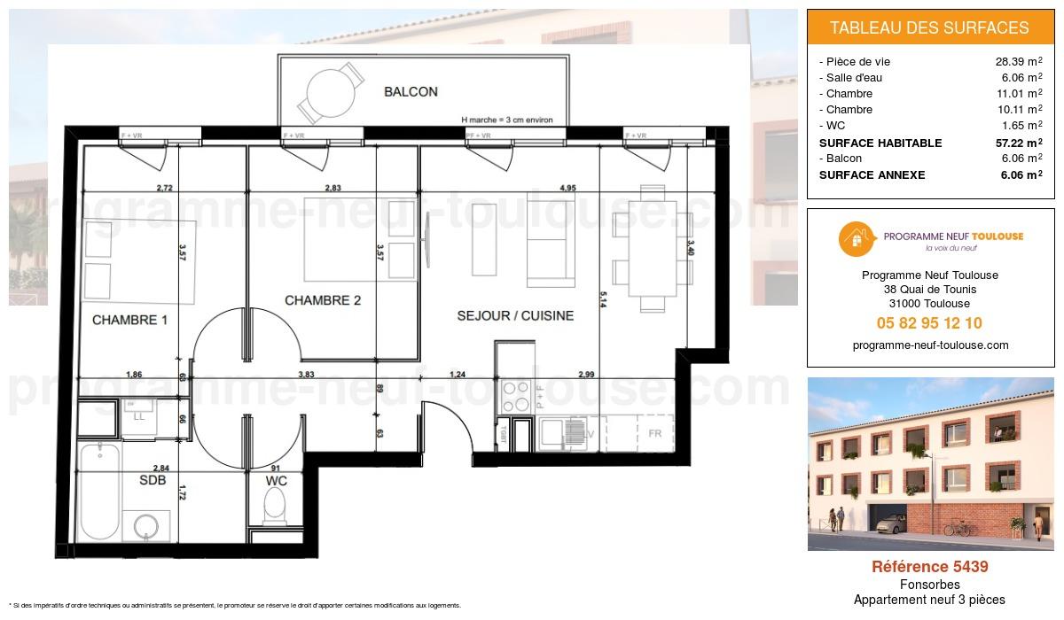 Plan pour un Appartement neuf de  57.22m² à Fonsorbes
