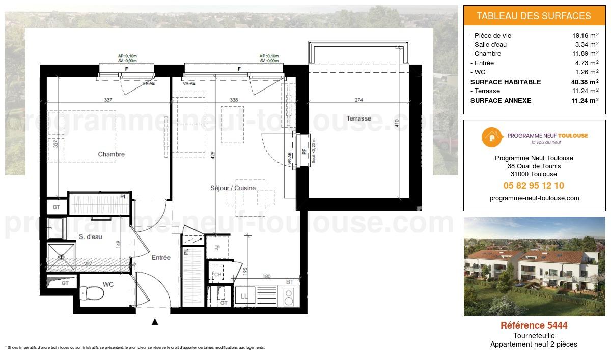 Plan pour un Appartement neuf de  40.38m² à Tournefeuille