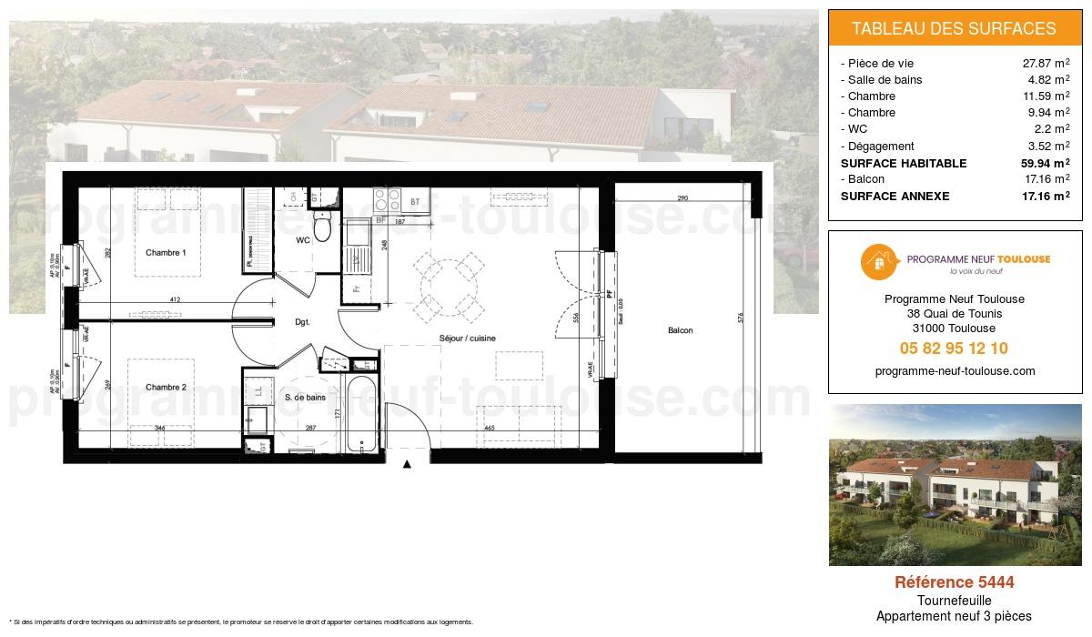 Plan pour un Appartement neuf de  59.94m² à Tournefeuille