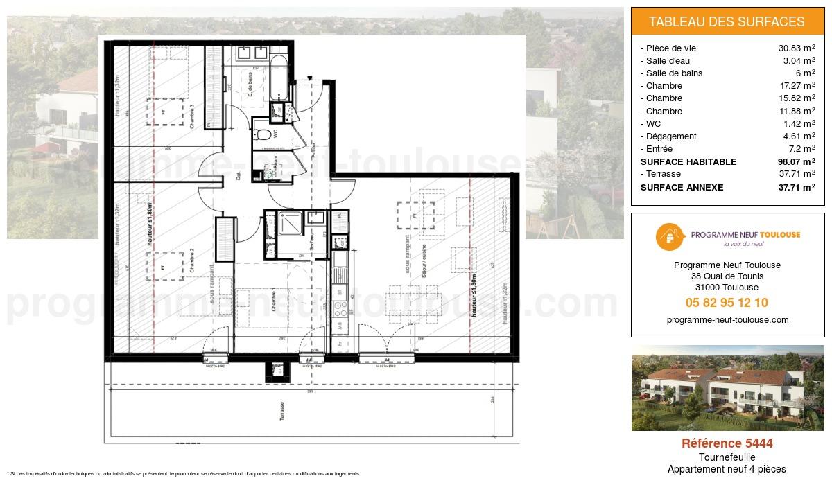 Plan pour un Appartement neuf de  98.07m² à Tournefeuille