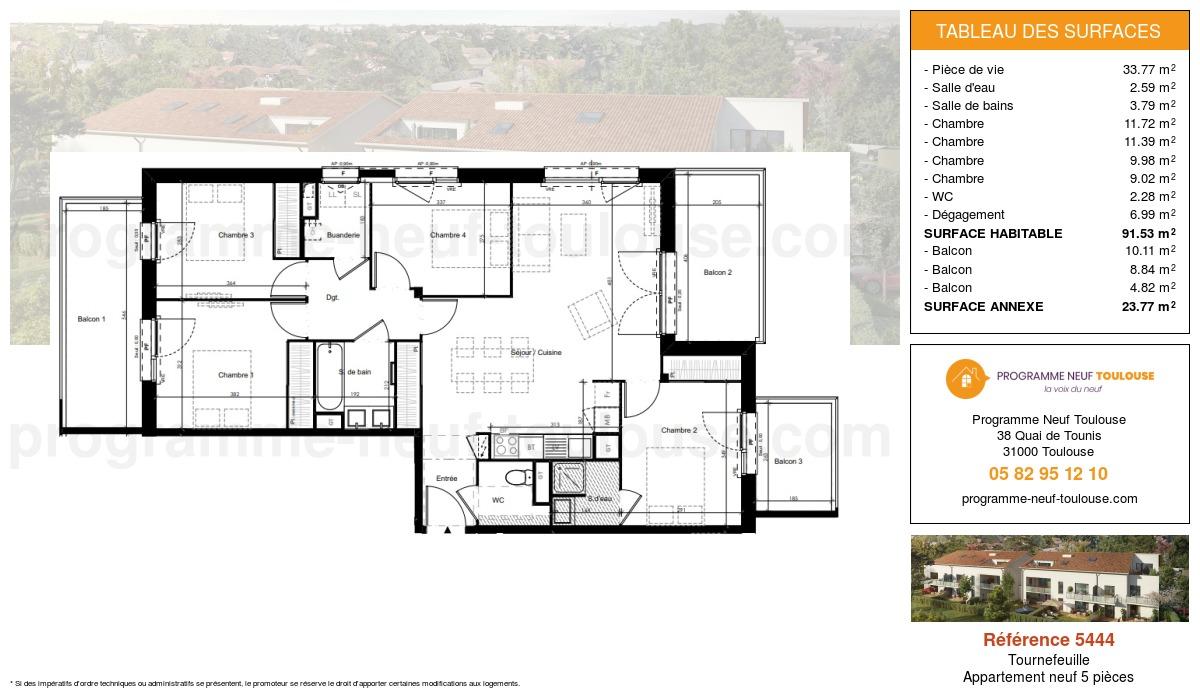 Plan pour un Appartement neuf de  91.53m² à Tournefeuille