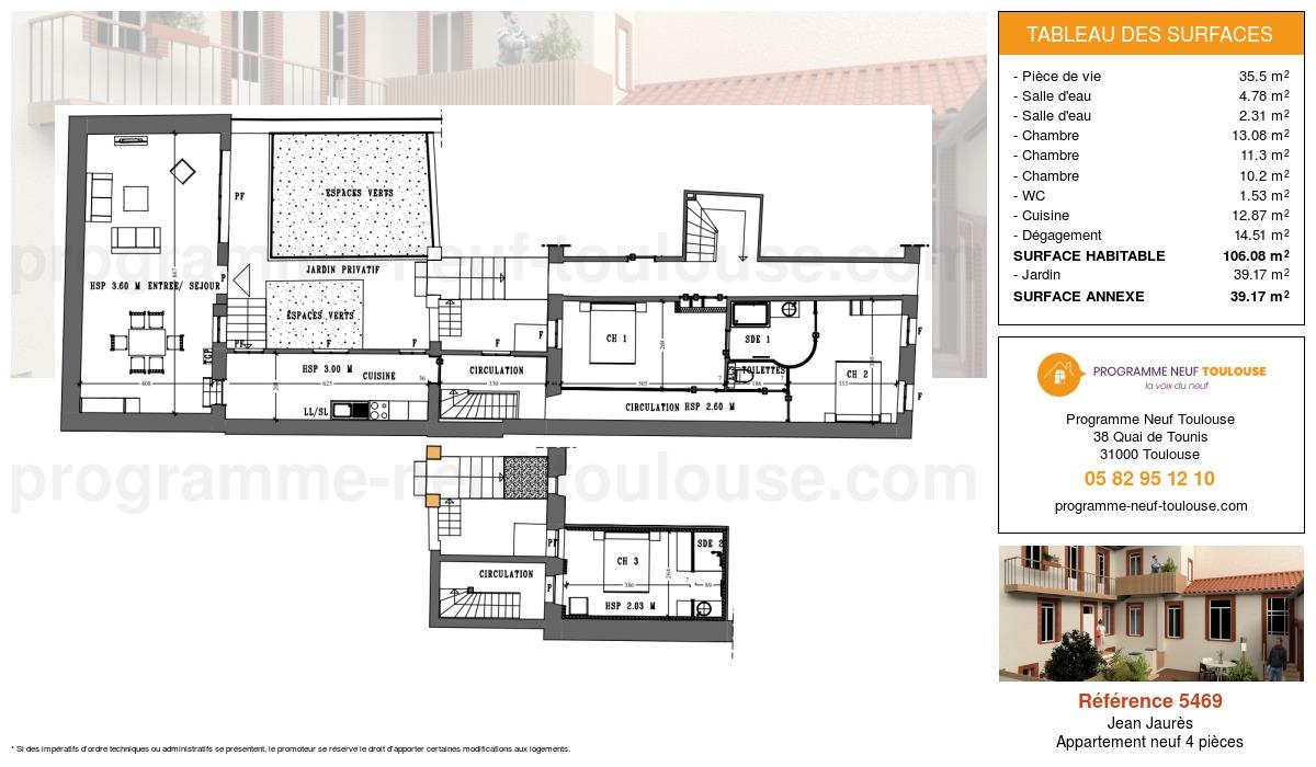 Plan pour un Appartement neuf de  106.08m² à Jean Jaurès