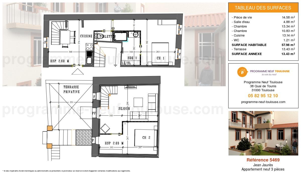 Plan pour un Appartement neuf de  57.98m² à Jean Jaurès
