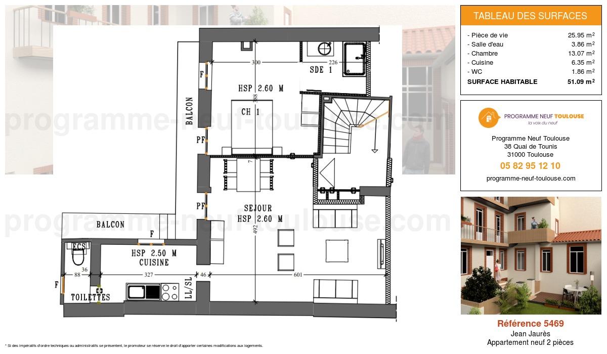 Plan pour un Appartement neuf de  51.09m² à Jean Jaurès