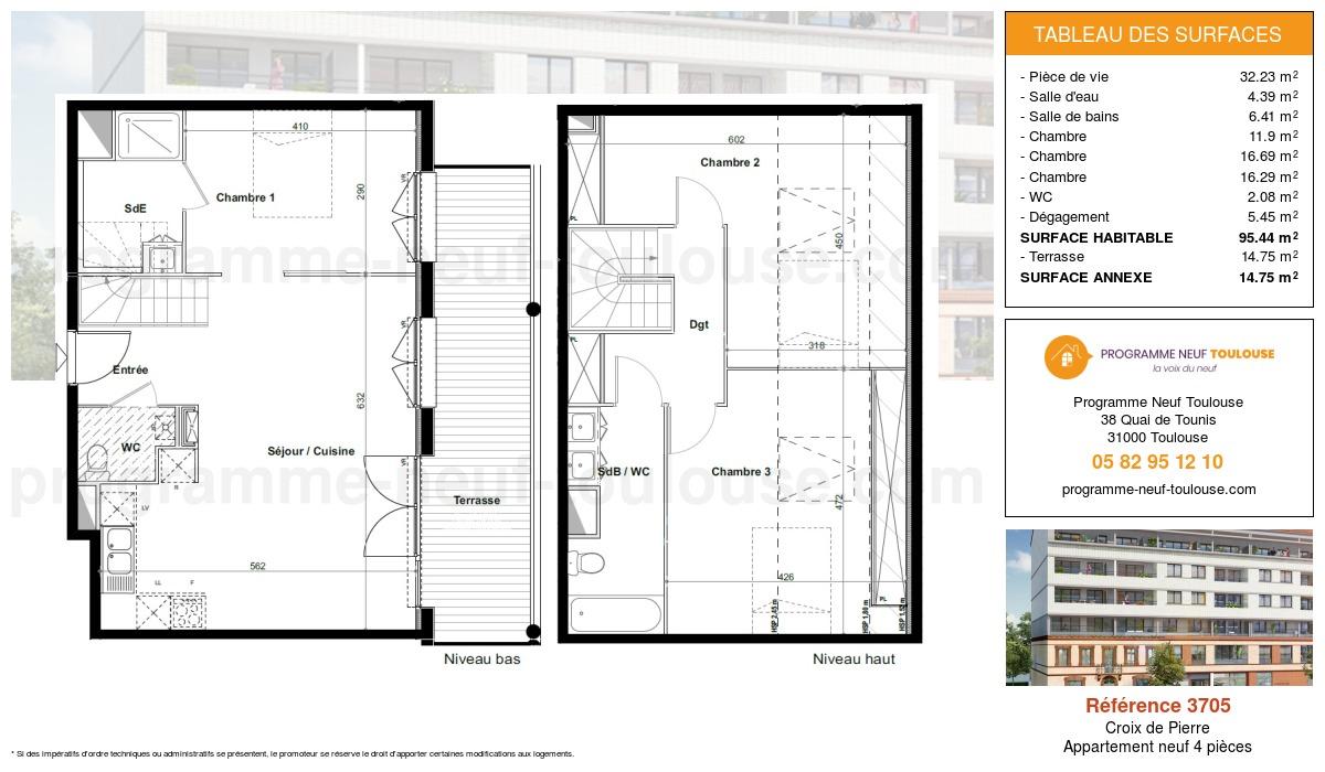 Plan pour un Appartement neuf de  95.44m² à Croix de Pierre