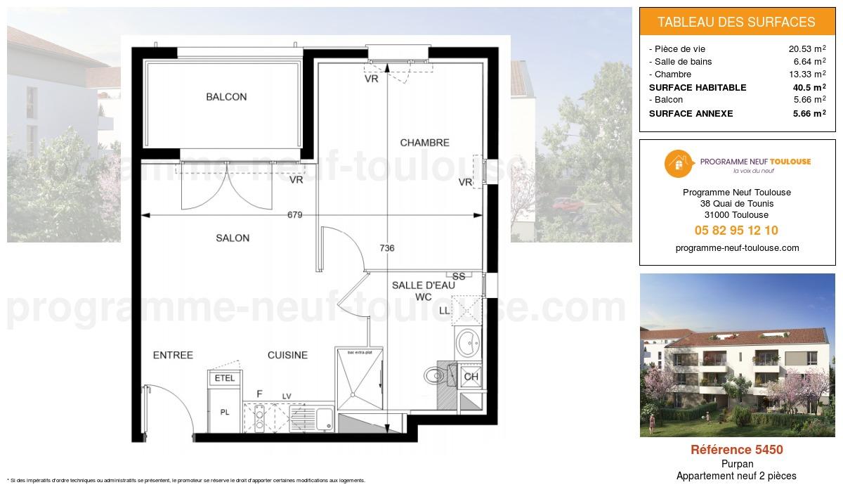 Plan pour un Appartement neuf de  40.5m² à Purpan