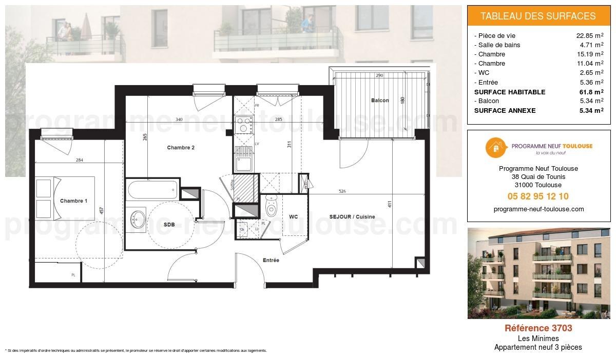 Plan pour un Appartement neuf de  61.8m² à Les Minimes