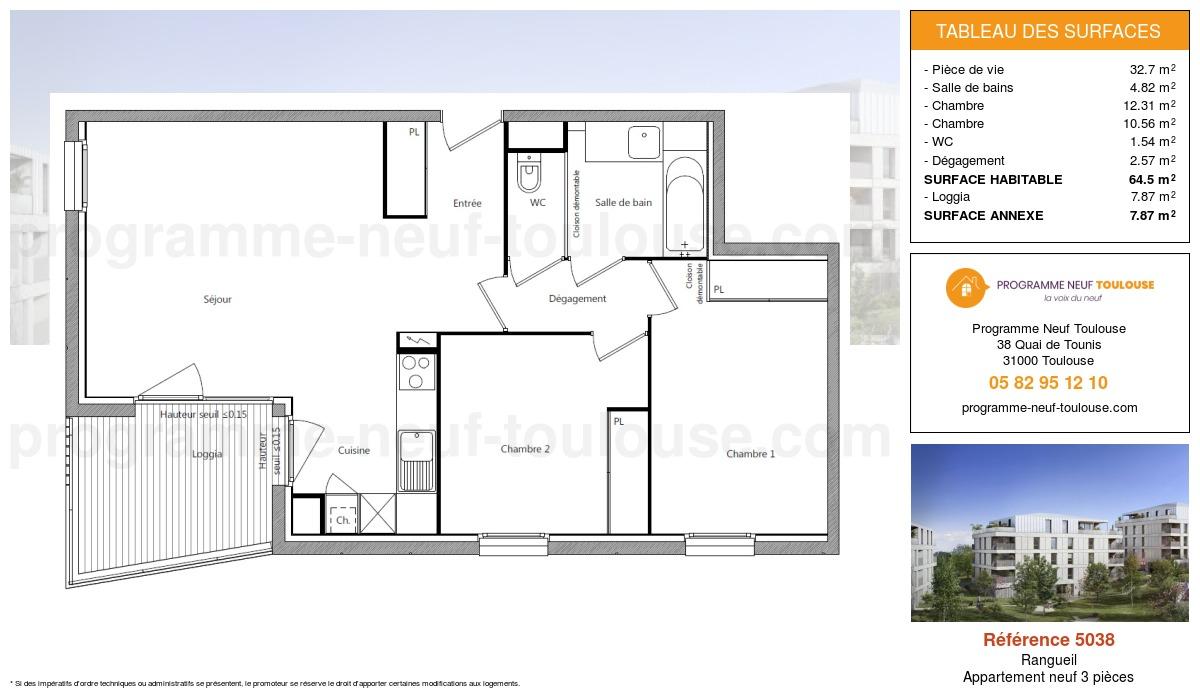 Plan pour un Appartement neuf de  64.5m² à Rangueil