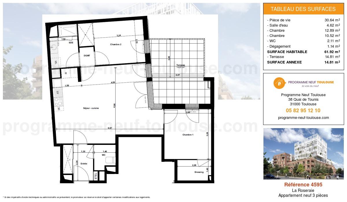 Plan pour un Appartement neuf de  66.39m² à La Roseraie