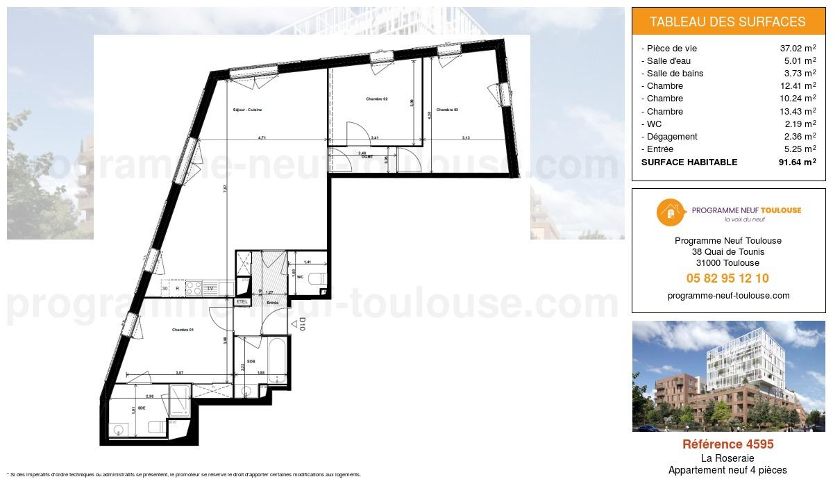 Plan pour un Appartement neuf de  91.64m² à La Roseraie