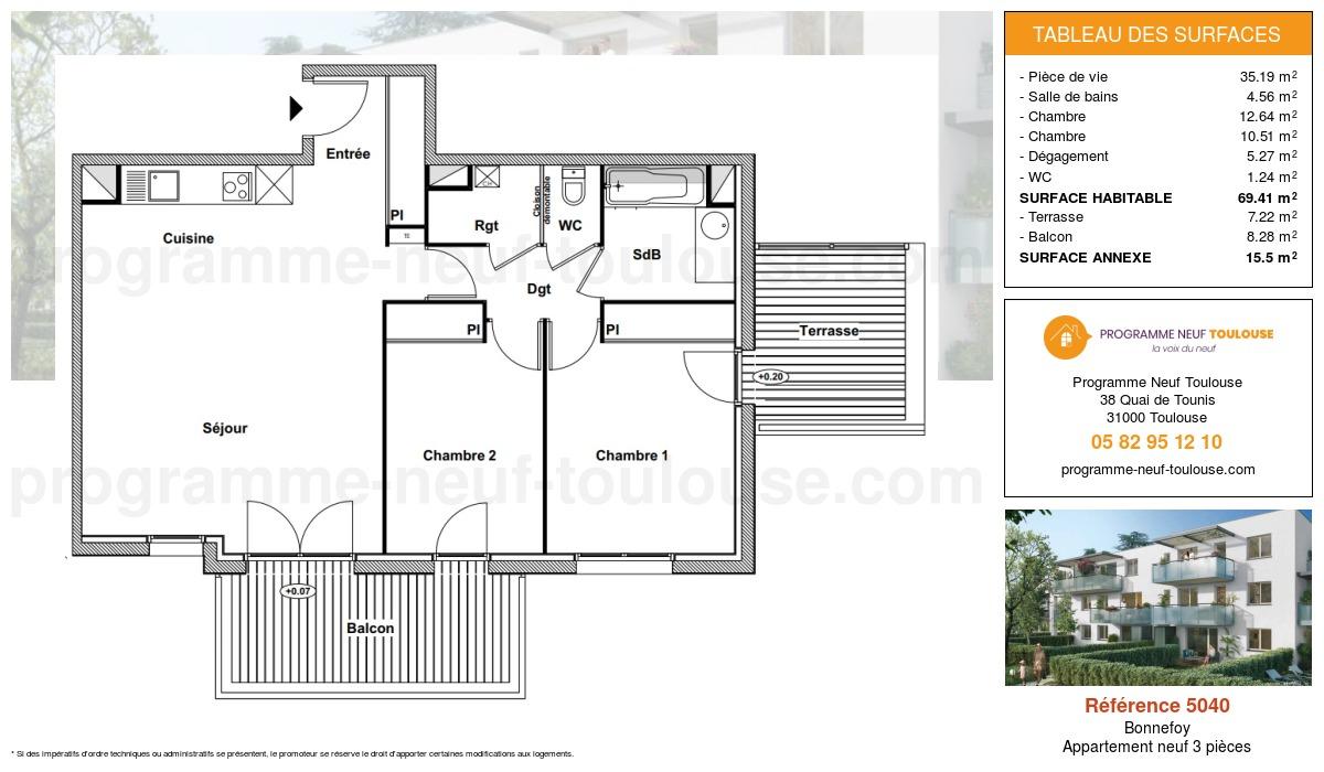 Plan pour un Appartement neuf de  69.41m² à Bonnefoy