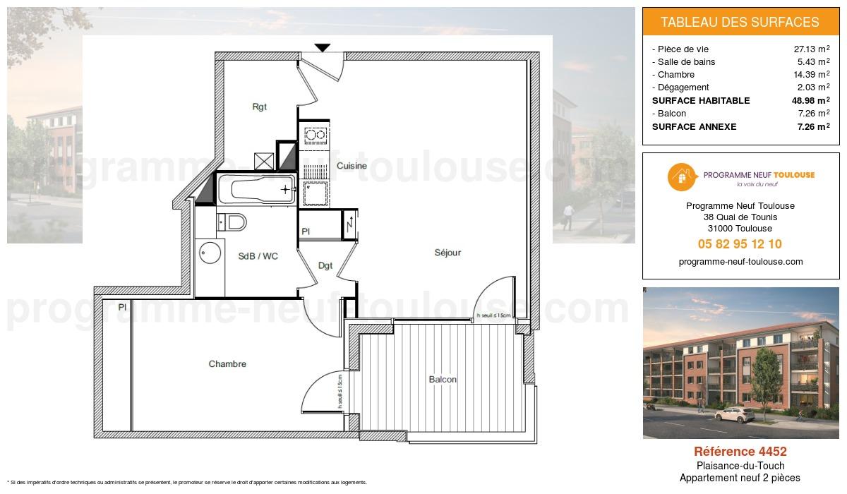 Plan pour un Appartement neuf de  48.98m² à Plaisance-du-Touch
