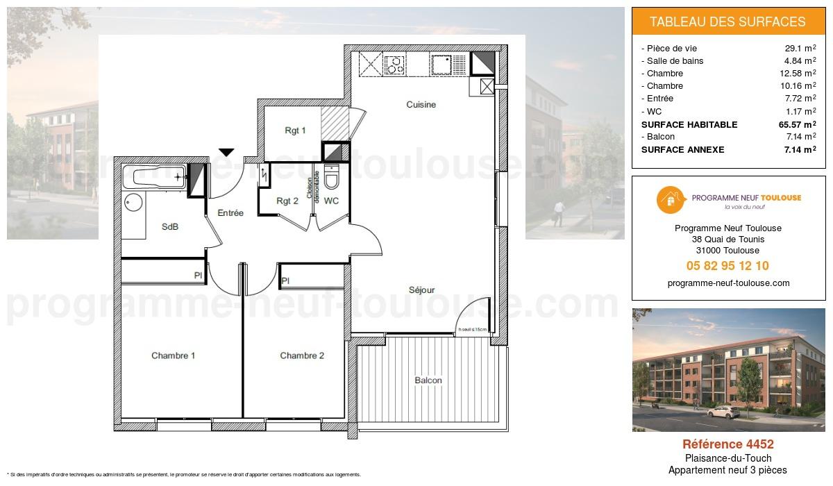 Plan pour un Appartement neuf de  65.57m² à Plaisance-du-Touch