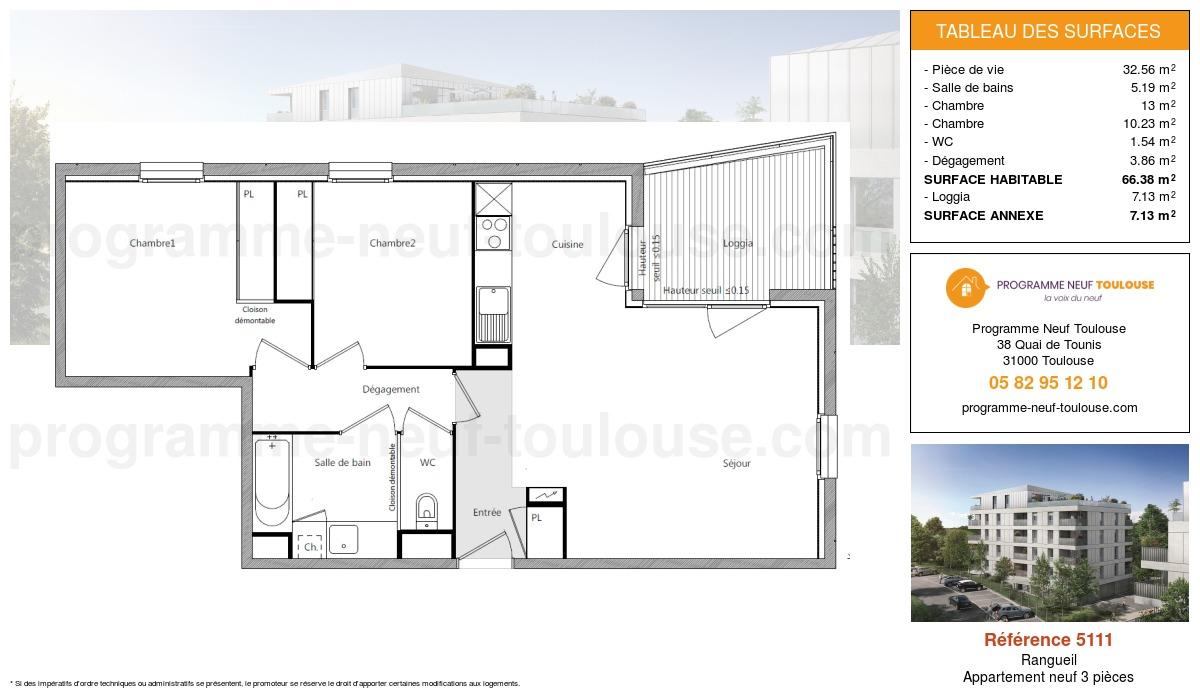 Plan pour un Appartement neuf de  32.56m² à Rangueil