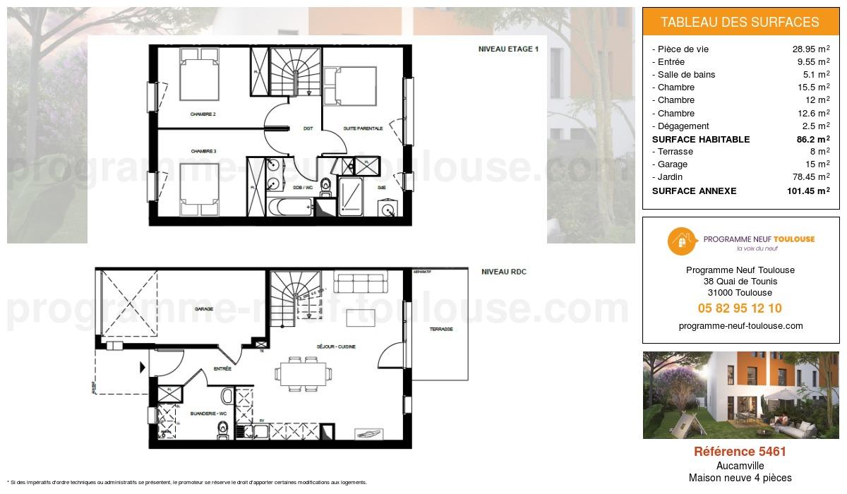 Plan pour un Maison neuve de  86.2m² à Aucamville