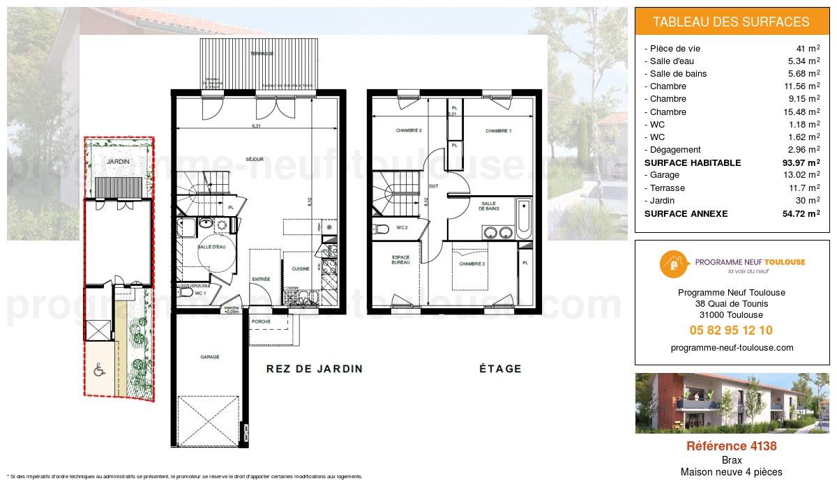 Plan pour un Maison neuve de  93.97m² à Brax