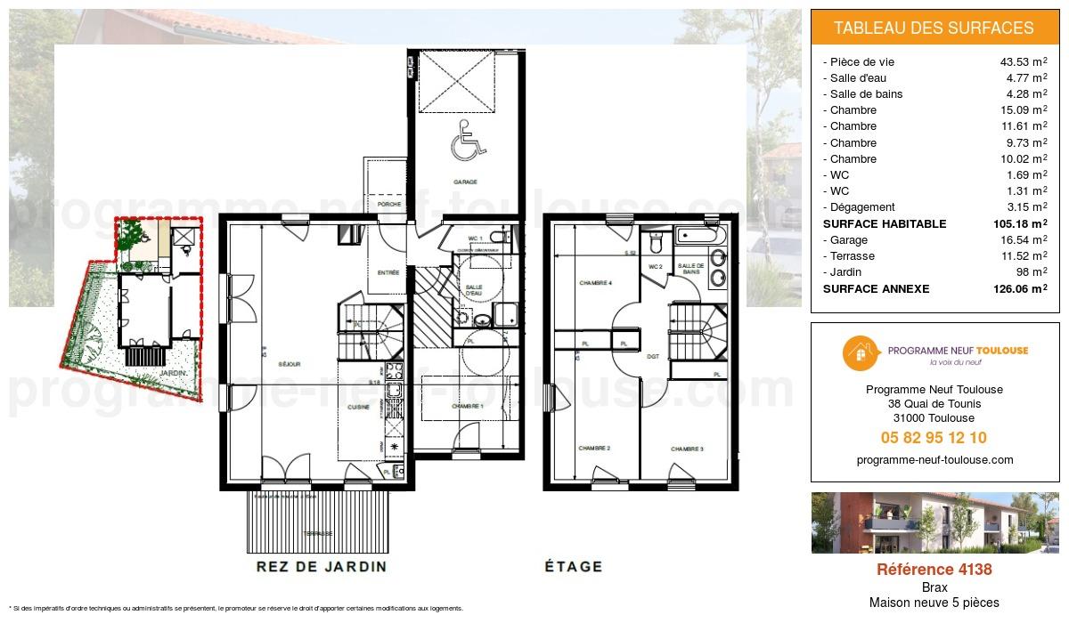 Plan pour un Maison neuve de  105.18m² à Brax