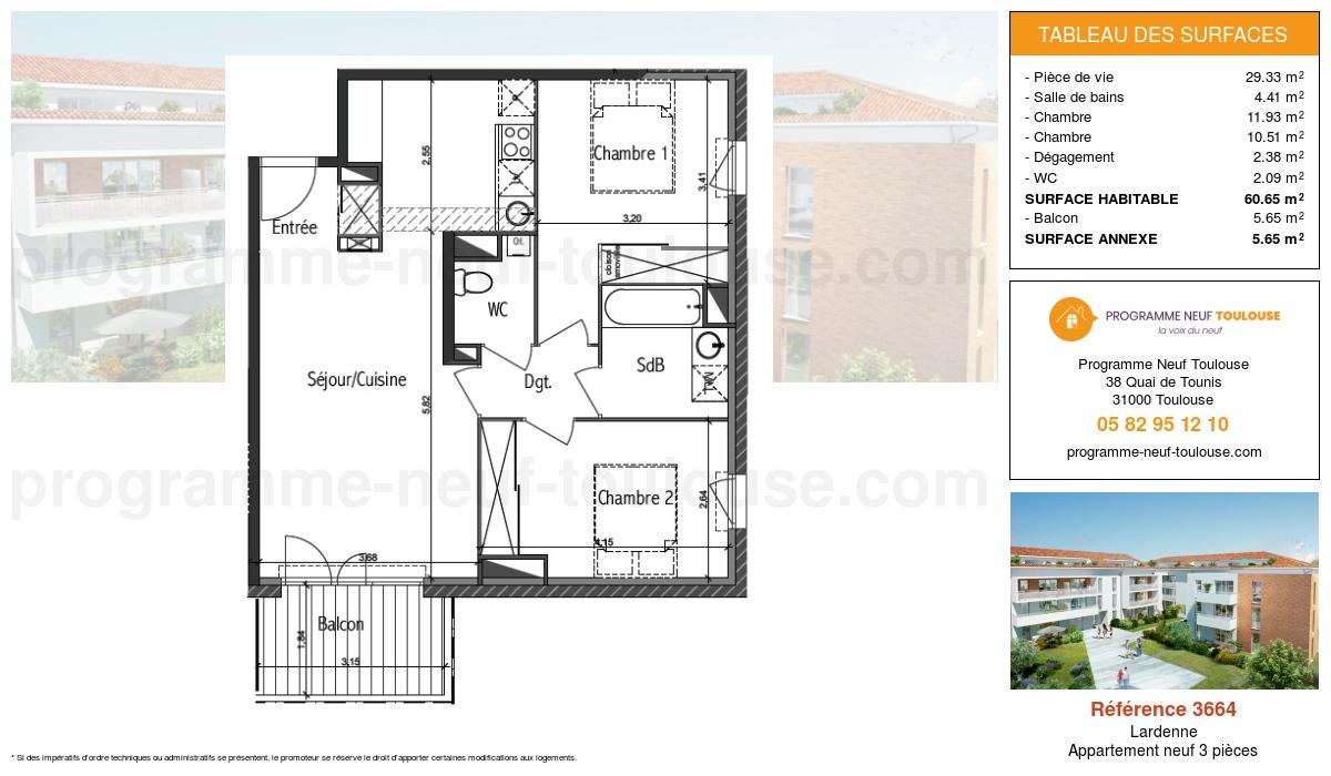 Plan pour un Appartement neuf de  60.65m² à Lardenne
