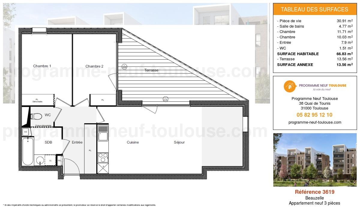 Plan pour un Appartement neuf de  66.83m² à Beauzelle