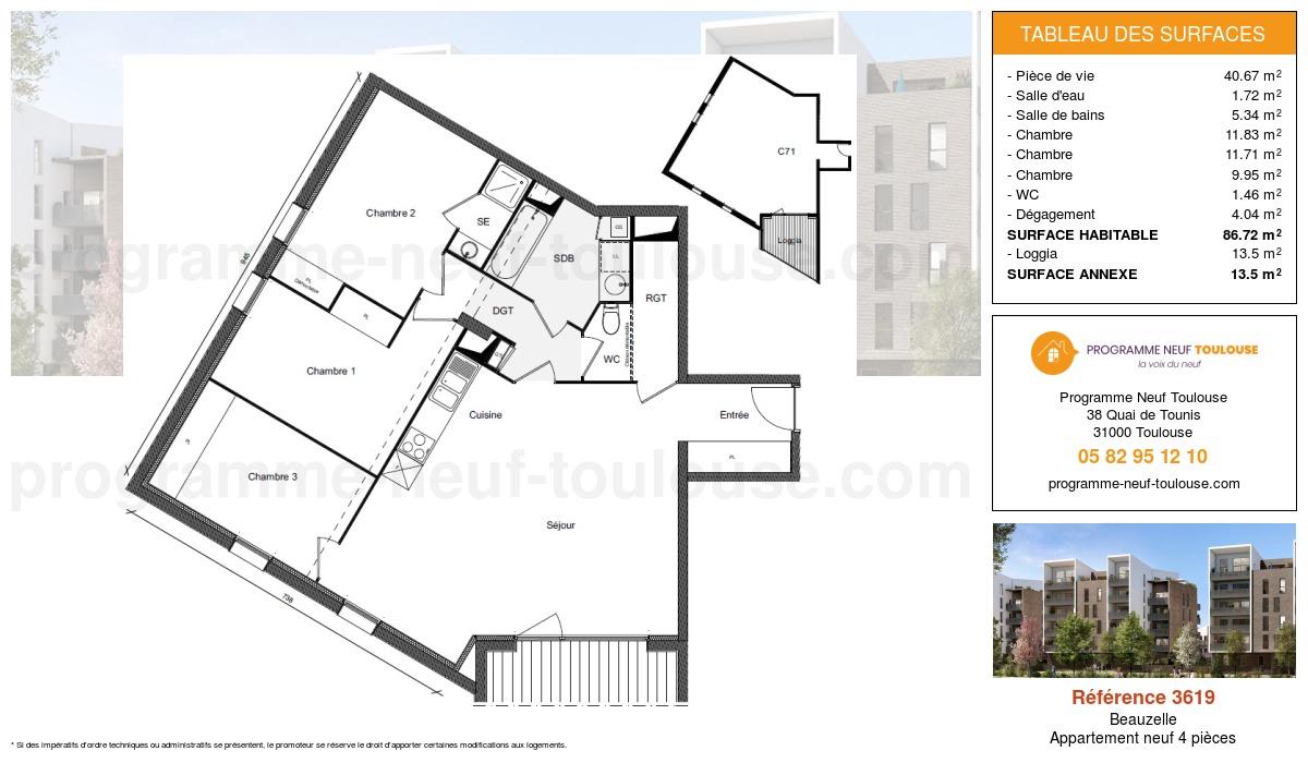 Plan pour un Appartement neuf de  86.72m² à Beauzelle