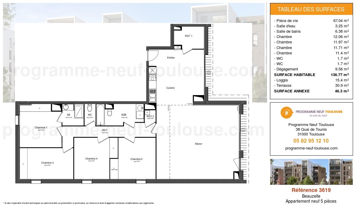 Plan pour un Appartement neuf de  135.07m² à Beauzelle