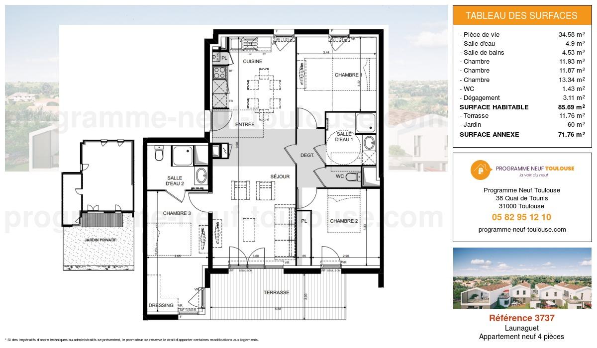 Plan pour un Appartement neuf de  85.69m² à Launaguet