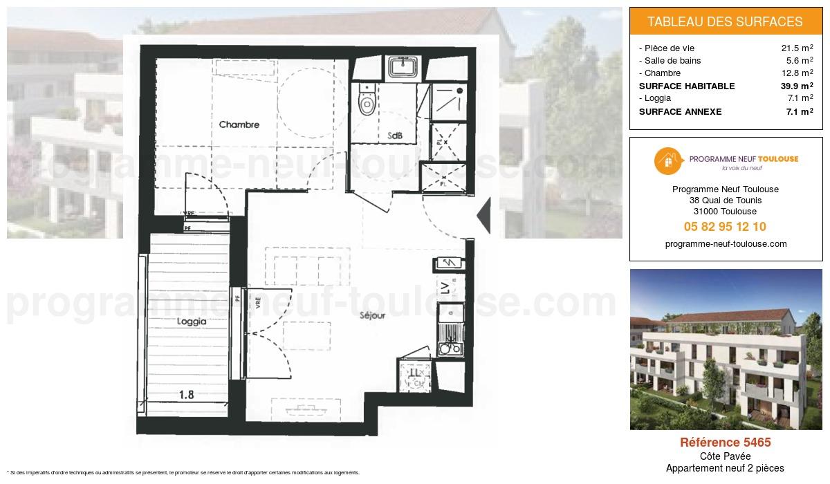 Plan pour un Appartement neuf de  39.9m² à Côte Pavée