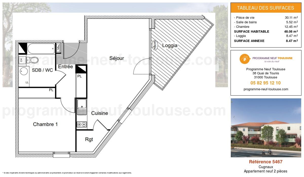 Plan pour un Appartement neuf de  48.08m² à Cugnaux