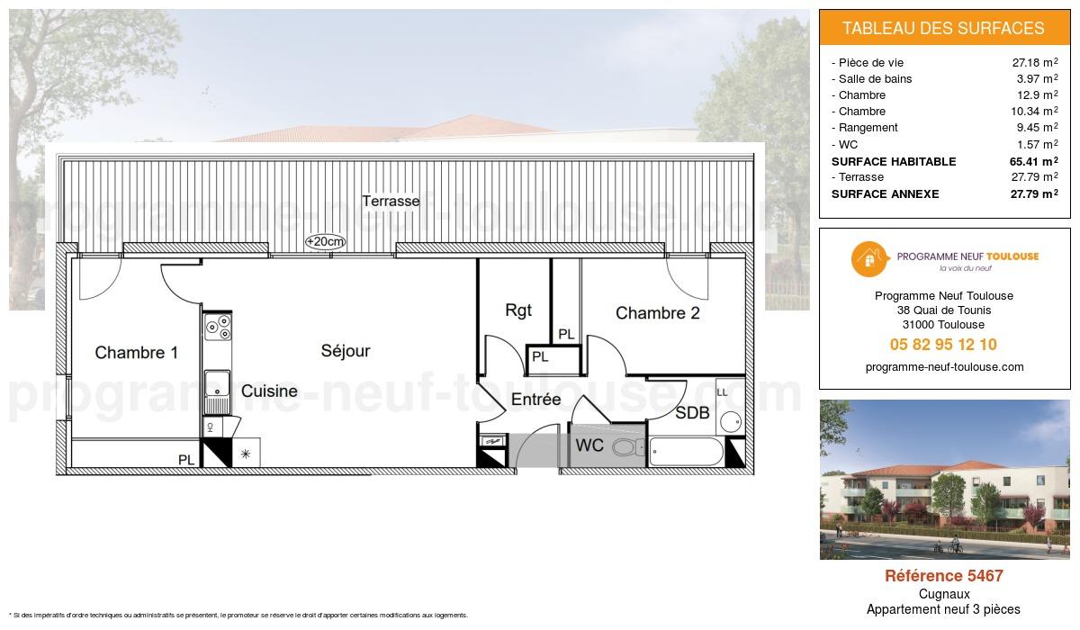 Plan pour un Appartement neuf de  65.41m² à Cugnaux