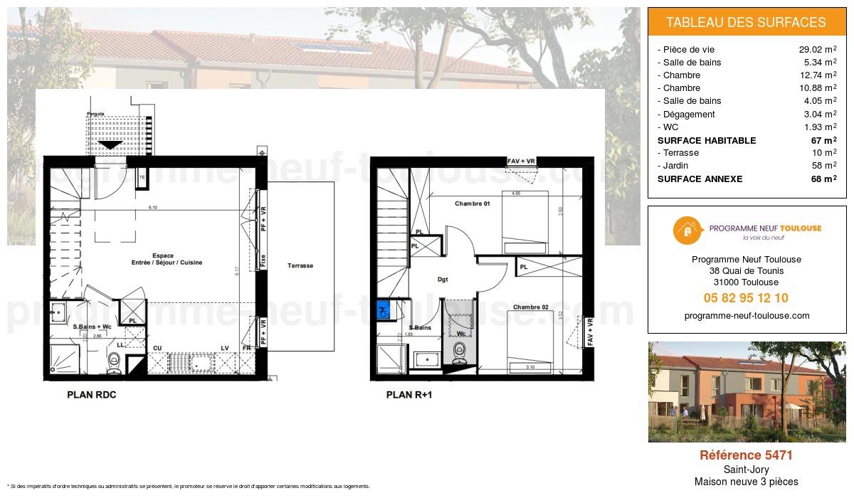 Plan pour un Maison neuve de  67m² à Saint-Jory
