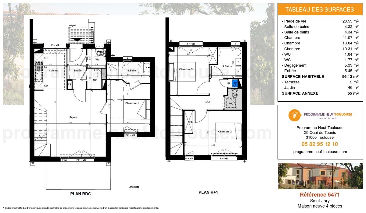 Plan pour un Maison neuve de  86.13m² à Saint-Jory