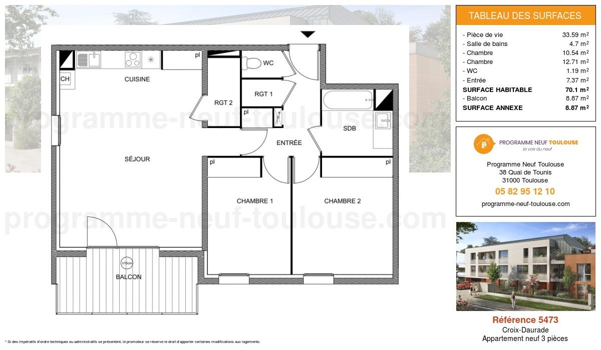 Plan pour un Appartement neuf de  70.1m² à Croix-Daurade
