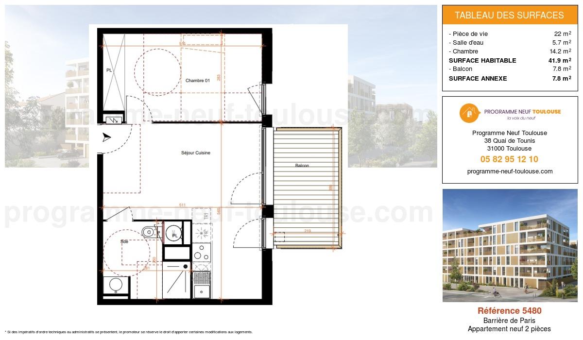 Plan pour un Appartement neuf de  41.9m² à Barrière de Paris