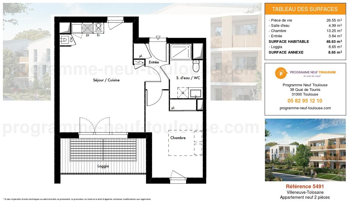 Plan pour un Appartement neuf de  48.63m² à Villeneuve-Tolosane