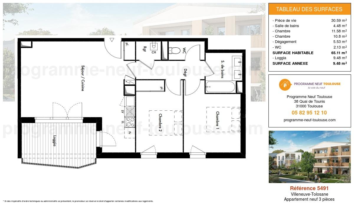Plan pour un Appartement neuf de  65.11m² à Villeneuve-Tolosane