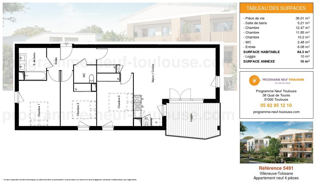 Plan pour un Appartement neuf de  84.3m² à Villeneuve-Tolosane