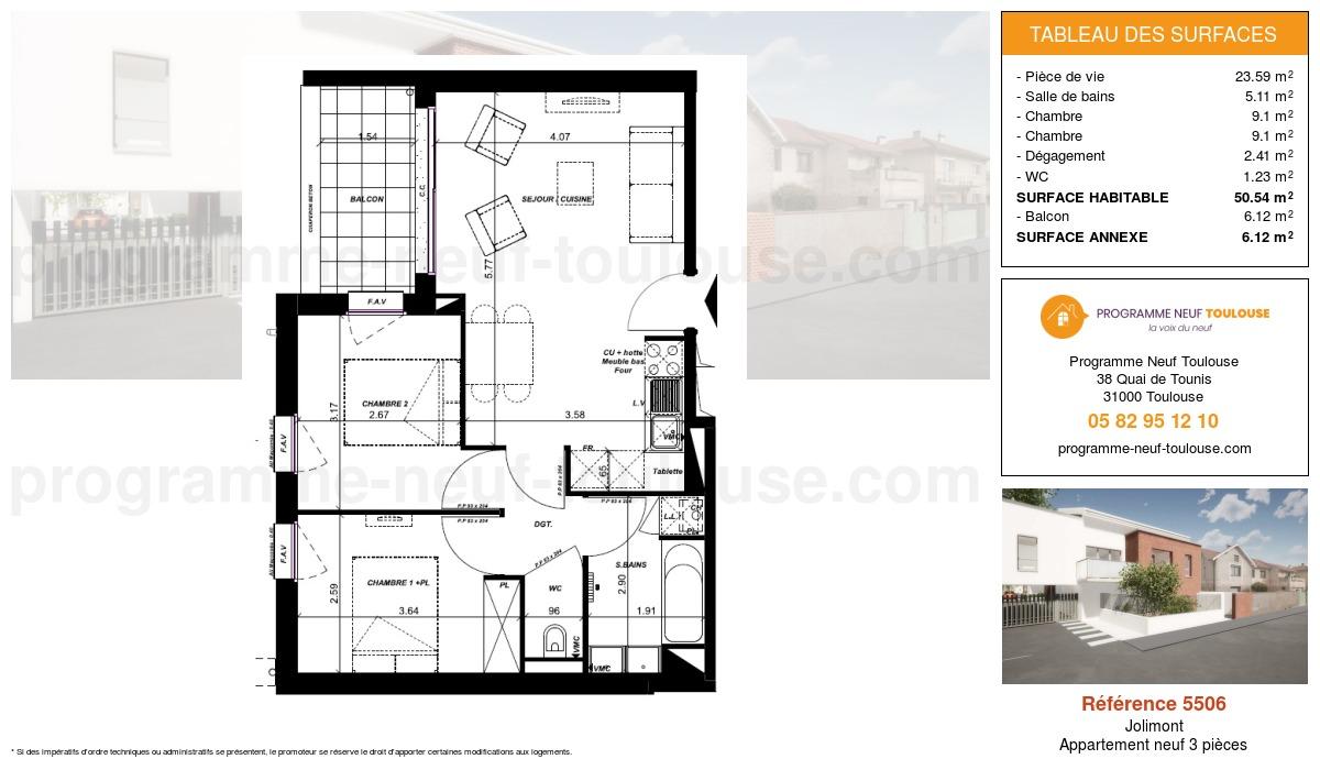Plan pour un Appartement neuf de  50.54m² à Jolimont