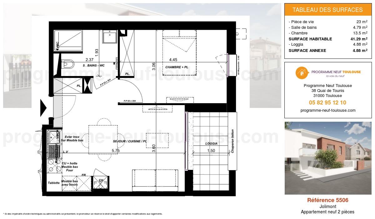 Plan pour un Appartement neuf de  41.29m² à Jolimont