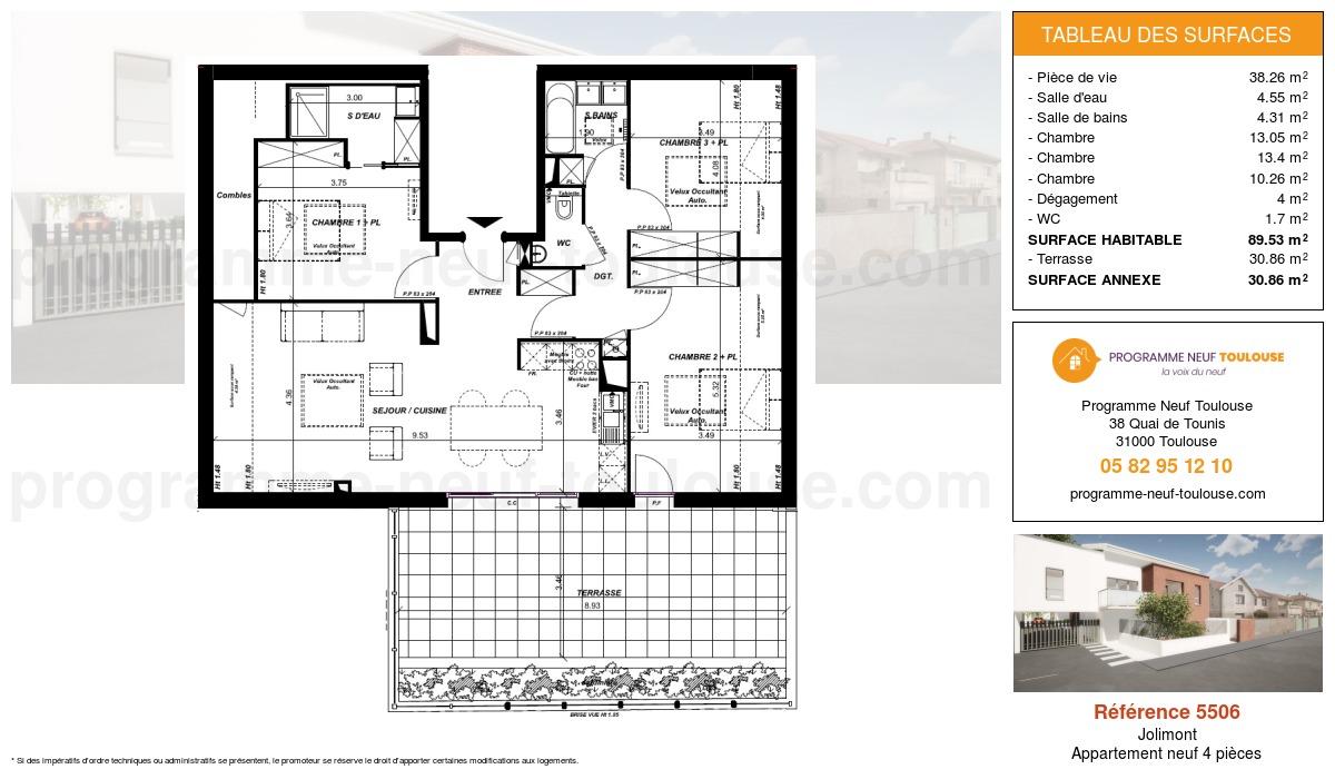 Plan pour un Appartement neuf de  89.53m² à Jolimont