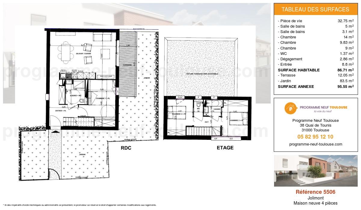 Plan pour un Maison neuve de  86.71m² à Jolimont